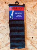 AS NEW 50 x PAIRS OF SPANX VINTAGE STRIPE SWEATER KNEE SOCKS IN BLACK/GREY. EACH PACK RETAILS AT £