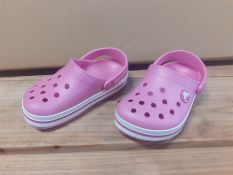 1 LOT TO CONTAIN 1 PAIR OF LA REDOUTE KIDS CROC BAND CLOGS / PINK CHILDREN SIZE 9