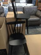 2 x JOHN LEWIS SPINDLE CHAIRS IN BLACK *BACK LEFT LEGS ON BOTH CHAIRS ARE NOT ATTACHED*