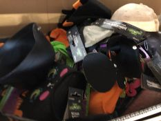 1 LOT TO CONTAIN 1 MEDIUM BOX OF HALLOWEEN MASKS, CAPES, HATS AND OTHER ACCESSORIES