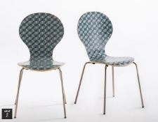 LA REDOUTE WATFORD RETRO STACKABLE PRINT CHAIRS (SET OF 2)