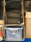 1 LOT TO CONTAIN 2 MSH METAL WASTE PAPER BINS IN BLACK AND ASSORTED BINS AND PLASTIC TUBS