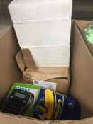 1 LOT TO CONTAIN REAM OF A4 PAPER , RING BINDERS , SELLOTAPE AND LABEL MAKER PLUS OTHER ITEMS -