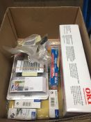1 LOT TO CONTAIN 2 X CAT 5E NETWORK CABLES, CLICKER PENS, BINDER SEPARATORS AND AN OKI INK CARTRIDGE
