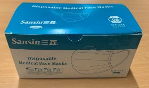 1 BOX OF SANSIN DISPOSABLE MEDICAL FACE MASKS - AS NEW - TYPE A, MEDIUM - 50 PIECES - 180 x 100 x