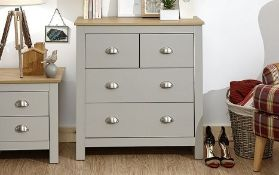 1 LOT TO CONTAIN LANCASTER 2 + 2 DRAWER CHEST IN GREY - IN 1 BOX