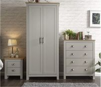 1 LOT TO CONTAIN LANCASTER 4 PIECE BEDROOM SET INCLUDING WARDROBE, DRAWERS ETC IN GREY - IN 4 BOXES