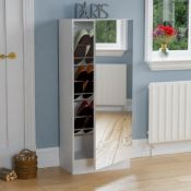 1 LOT TO CONTAIN 180CM MIRRORED SHOE CABINET IN WHITE - IN 1 BOX