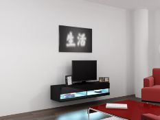1 LOT TO CONTAIN RTV VIGO NEW MINI 140 CM IN BLACK WITH BLUE LED TV STAND - IN 1 BOX