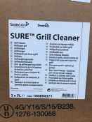 1 LOT TO CONTAIN 3 BOXES OF SURE GRILL CLEANER 2 X 5L PER BOTTLE