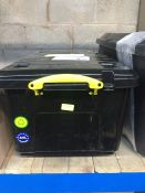 "1 LOT TO CONTAIN 64L BLACK ""REALLY USEFUL"" PLASTIC STORAGE CONTAINER WITH HANDLE AND WHEELS"