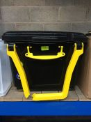 "1 LOT TO CONTAIN 64L BLACK ""REALLY USEFUL"" PLASTIC STORAGE CONTAINER WITH HANDLE AND WHEELS -"