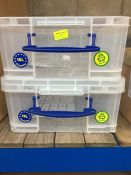 "1 LOT TO CONTAIN 2 X 18L ""REALLY USEFUL"" PLASTIC STORAGE BOXES CLEAR"