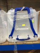 1 LOT TO CONTAIN CLEAR PLASTIC 160 L STORAGE CONTAINER WITH LID HANDLE AND WHEELS