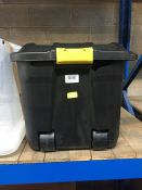 1 LOT TO CONTAIN BLACK PLASTIC 160 L STORAGE CONTAINER WITH LID HANDLE AND WHEELS