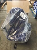 1 LOT TO CONTAIN 1 X FULLY ASSEMBLED OFFICE CHAIR WITH BLUE FABRIC ON SEAT - BOXED