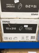 1 LOT TO CONTAIN STAPLES ZZ V-FOLD HAND TOWEL 2 PLY - 15 PACKS X 210 SHEETS - BOXED