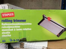 1 LOT TO CONTAIN STAPLES ROLLING TRIMMER A3 IDEAL FOR GREETINGS CARDS ETC - BOXED