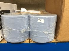 1 LOT TO CONTAIN 1 X PACK OF 6 LARGE BLUE HAND TOWEL ROLLS - BAGGED