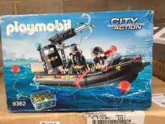 1 LOT TO CONTAIN PLAYMOBIL CITY ACTION SWAT BOAT WITH HOOK CANNON