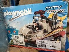 1 LOT TO CONTAIN 1 PLAYMOBIL CITYACTION AMPHIBIOUS TRUCK / MOTOR / CANNON