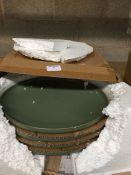 1 LOT TO CONTAIN SET OF 4 AKIRA GLAZED STONEWARE DESSERT PLATES / COLOUR GREEN