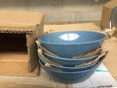 1 LOT TO CONTAIN SET OF 4 ELINOR SANDSTONE BOWLS / COLOUR BLUE-GREY