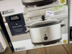 1 LOT TO CONTAIN 1 3L SLOW COOKER (THIS ITEM IS AN UNTESTED CUSTOMER RETURN. PUBLIC VIEWING IS