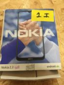 1 LOT TO CONTAIN NOKIA 2.3 MOBILE PHONE / RRP £99.99 (THIS ITEM IS AN UNTESTED CUSTOMER RETURN.