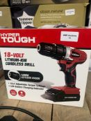 1 LOT TO CONTAIN 1 HYPER TOUGH 18-VOLT CORDLESS DRILL (THIS ITEM IS AN UNTESTED CUSTOMER RETURN.