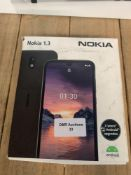 1 LOT TO CONTAIN 1 NOKIA 1.3 MOBILE PHONE (THIS ITEM IS AN UNTESTED CUSTOMER RETURN. PUBLIC