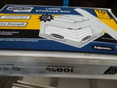 1 LOT TO CONTAIN FELLOWES BANKERS BOX LARGE STORAGE BOX W 380 H 287 D 430 MM RECYCLED BOARD SELF