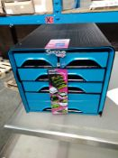 1 LOT TO CONTAIN 1 X 4 DRAWER CEP SMOOVE DESK FILER IN BLUE /BLACK SLIGHT CRACKS AT FRONT DOESN'T