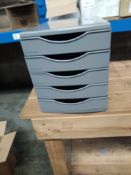 1 LOT TO CONTAIN STAPLES DEFLECTO FIVE DRAWER DESK FILER IN GREY