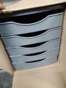 1 LOT TO CONTAIN 5 DRAWER DESK FILER IN GREY