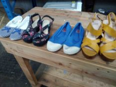 1 LOT TO CONTAIN 4 PAIRS OF SHOES, GOLD LA REDOUTE HEELS WOMENS SIZE 5, BEN SIMON PUMPS BOYS SIZE