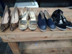 1 LOT TO CONTAIN 4 PAIRS OF SHOES, WOMENS MJUS BLACK SUEDE SANDALS SIZE 7.5, WOMENS MADEMOISELLE