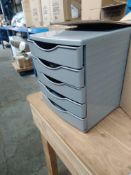 1 LOT TO CONTAIN GREY STAPLES DEFLECTO FIVE DRAWER DESK FILER IN GREY PLASTIC