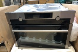 1 UNTESTED AEG KME525800M MICROWAVE OVEN / RRP £529.00 / ITEM IS UNUSED, DINTS TO THE TOP OF THE