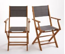 LA REDOUTE FOLDING SOLID WOOD GARDEN CHAIRS (SET OF 2)