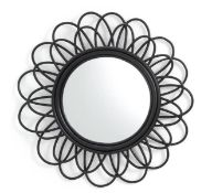 LA REDOUTE NOGU BLACK CANE DOUBLE FLOWER MIRROR