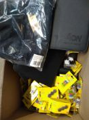 1 LOT TO CONTAIN 1 BOX OF ASSORTED ITEMS TO INCLUDE PACKS OF POWER MAGNETS, BATTERIES, POLO SHIRTS