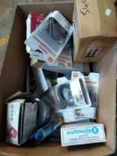 1 LOT TO CONTAIN 1 BOX OF ASSORTED ITEMS TO INCLUDE 6 X PC VGA CABLES, HDMI EXTENDER, CHEMICALS