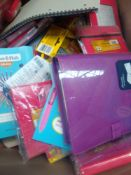 1 LOT TO CONTAIN 1 BOX FULL OF ETCH A SKETCH NOTEBOOKS , DICTIONARIES, CHILDREN'S STATIONERY,