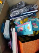 1 LOT TO CONTAIN 1 X BOX OF ASSORTED STATIONERY ITEMS INCLUDING NOTEPADS, PENS, PENCIL CASES ETC