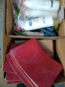 1 LOT TO CONTAIN APPROX 60 WINDOWED FOLDERS IN RED, PLUS 4 X 750 ML BOTTLES OF TOILET CLEANER
