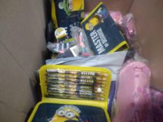 1 LOT TO CONTAIN APPROX 20 MINIONS PENCIL CASES /CRAYONS AND OTHER ASSORTED PENCIL CASES