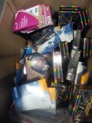 1 LOT TO CONTAIN 1 BOX OF ASSORTED ITEMS TO INCLUDE TETRIS BRAINTEASER PUZZLES, RAFFLE TICKETS,
