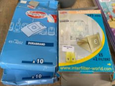 1 LOT TO CONTAIN 4 BOXES OF INTER FILTER & SCHNEIDER HOOVER PAPER WASTE BAGS