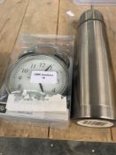 1 LOT TO CONTAIN 1 UNTESTED GEORGE HOME ALARM CLOCK / METAL FLASK